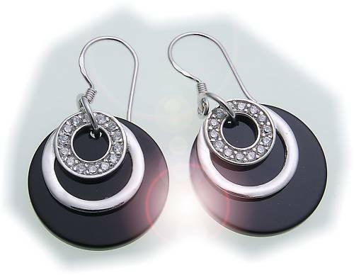 Ohrringe Hänger Zirkonia echt Silber 925 schwarz Sterlingsilber Unisex