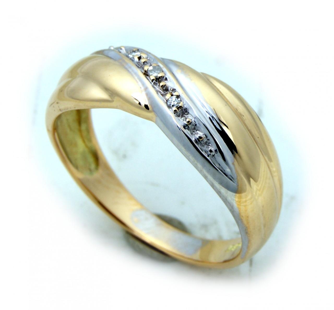 Damen Ring Brillant 0,03 carat w si echt Gold 585 Glanz Gelbgold Diamant