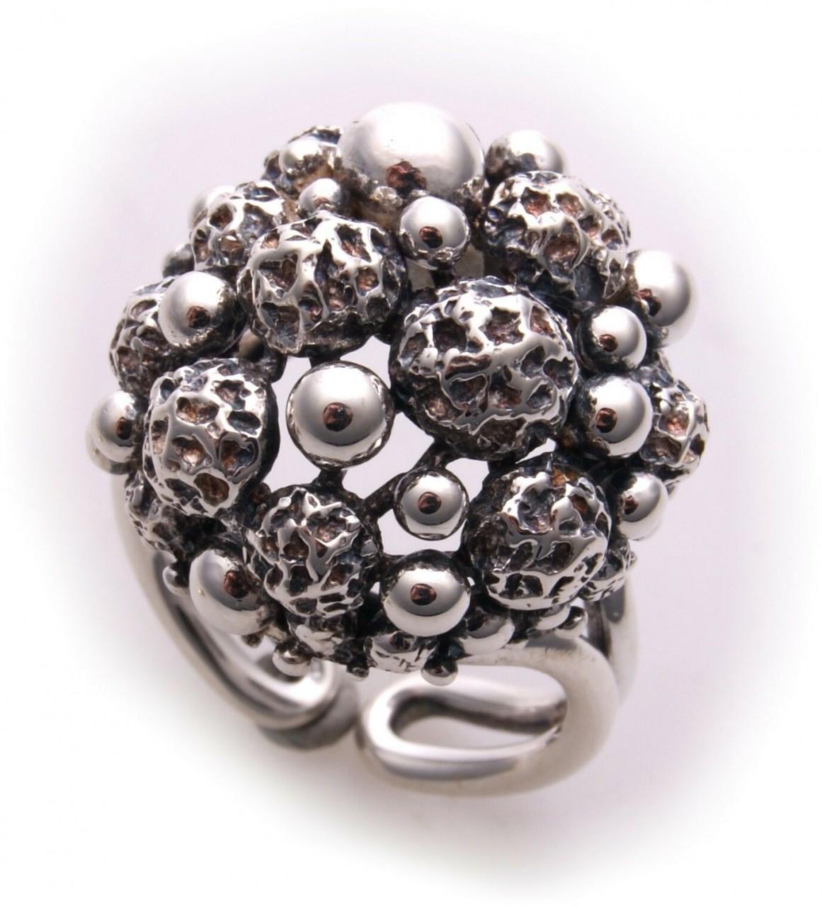 Neu Damen Ring Silber 925 Sterlingsilber geschwärzt Kugeln Kugel schöne Qualität
