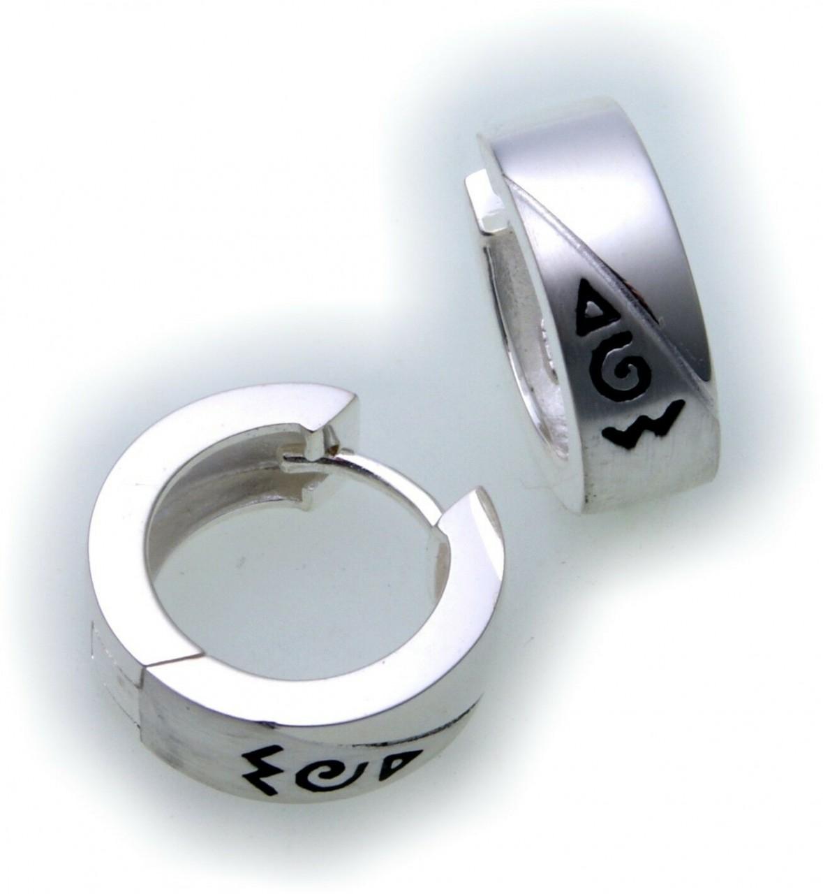Damen Ohrringe Klapp Creolen echt Silber 925 Sterlingsilber 15 mm Z2208
