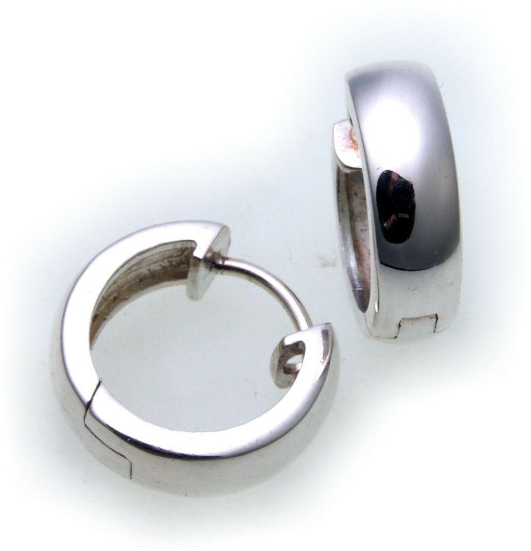 Neu Ohrringe Klapp Creolen echt Silber 925 Durchmesser 14 mm Sterlingsilber Top