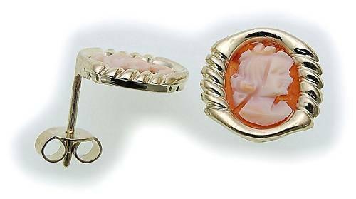 Damen Ohrringe m. Gemme in Gold 333 Stecker Ohrstecker Gelbgold Qualität