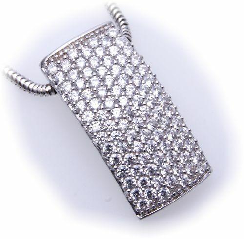 Anhänger echt Silber 925 Zirkonia Pavee rhodiniert Sterlingsilber