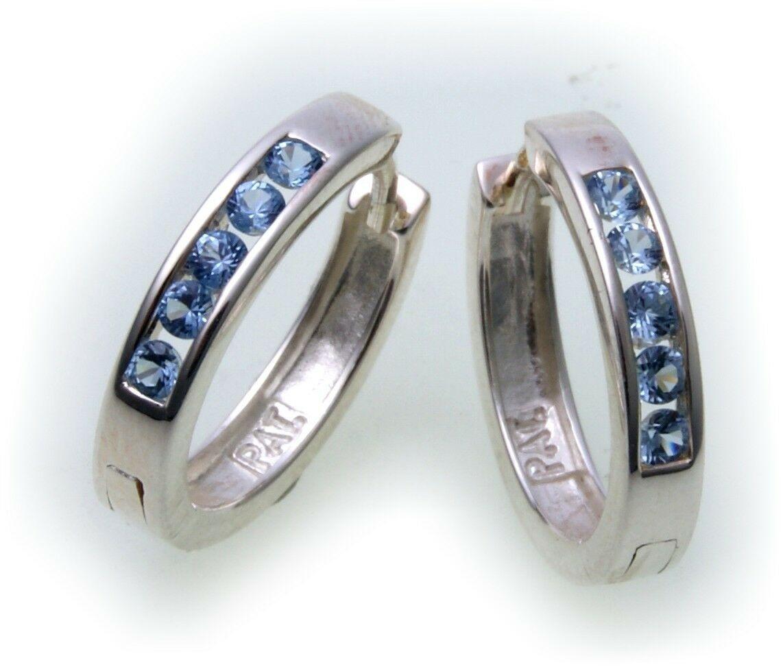 edle Ohrringe Klapp Creolen Aquamarin echt Silber 925 Qualität Sterlingsilber
