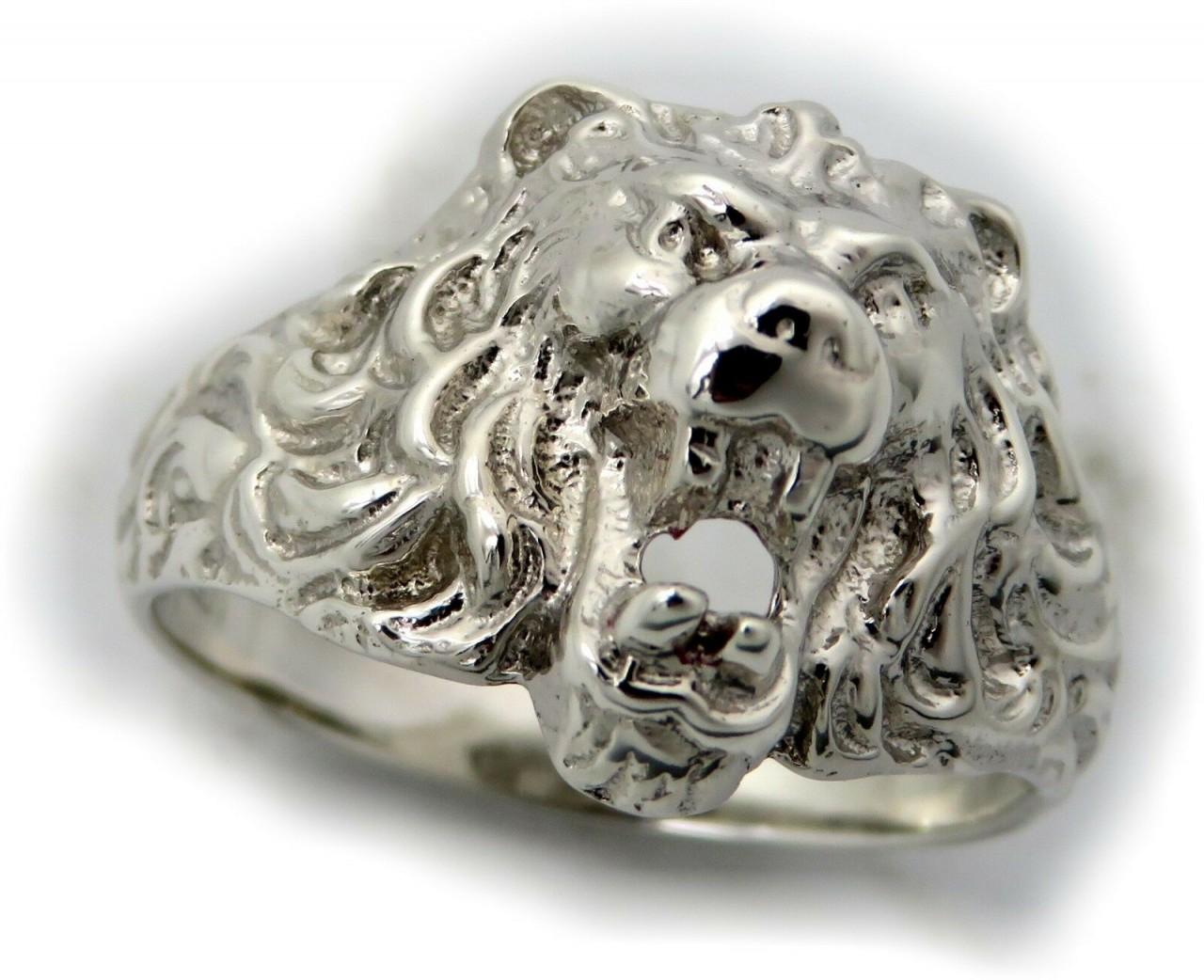 Herren Ring echt Silber 925 Löwe Löwenkopf Sterlingsilber massiv Qualität Damen