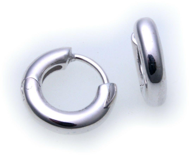 Ohrringe Klapp Creolen echt Silber 925 Durchmesser 12 mm Sterlingsilber Unisex