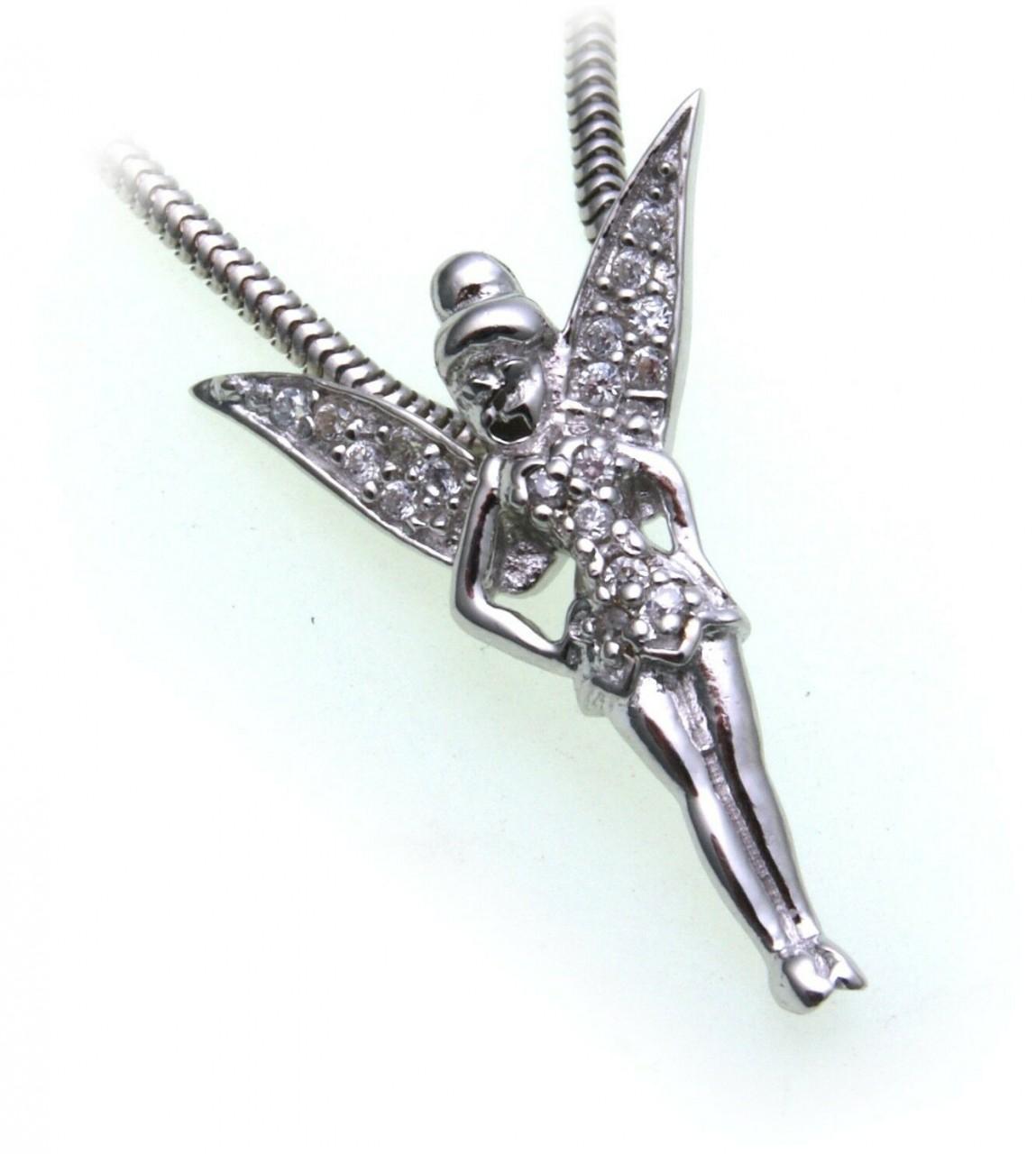 Anhänger Elfe echt Silber 925 Zirkonia Fee massiv rhod. Sterlingsilber Damen
