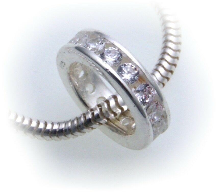 Anhänger echt Silber 925 Zirkonia zum durchziehen 10 mm Taufring
