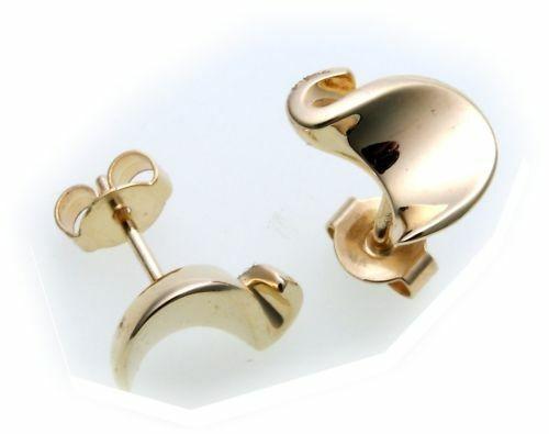 Damen Ohrringe Stecker echt Gold 375 teilmatt. Qualität Gelbgold BR2656