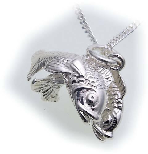 Anhänger Sternzeichen Fische groß Silber 925 Sterlingsilber Unisex