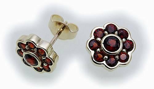 Damen Ohrringe m. Granat in Silber 925 Ohrstecker Sterlingsilber Stecker 6628/8G