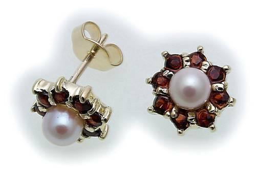 Damen Ohrringe Granat und Zuchtperlen Gold 333 Gelbgold Perlen Ohrstecker 6902/3