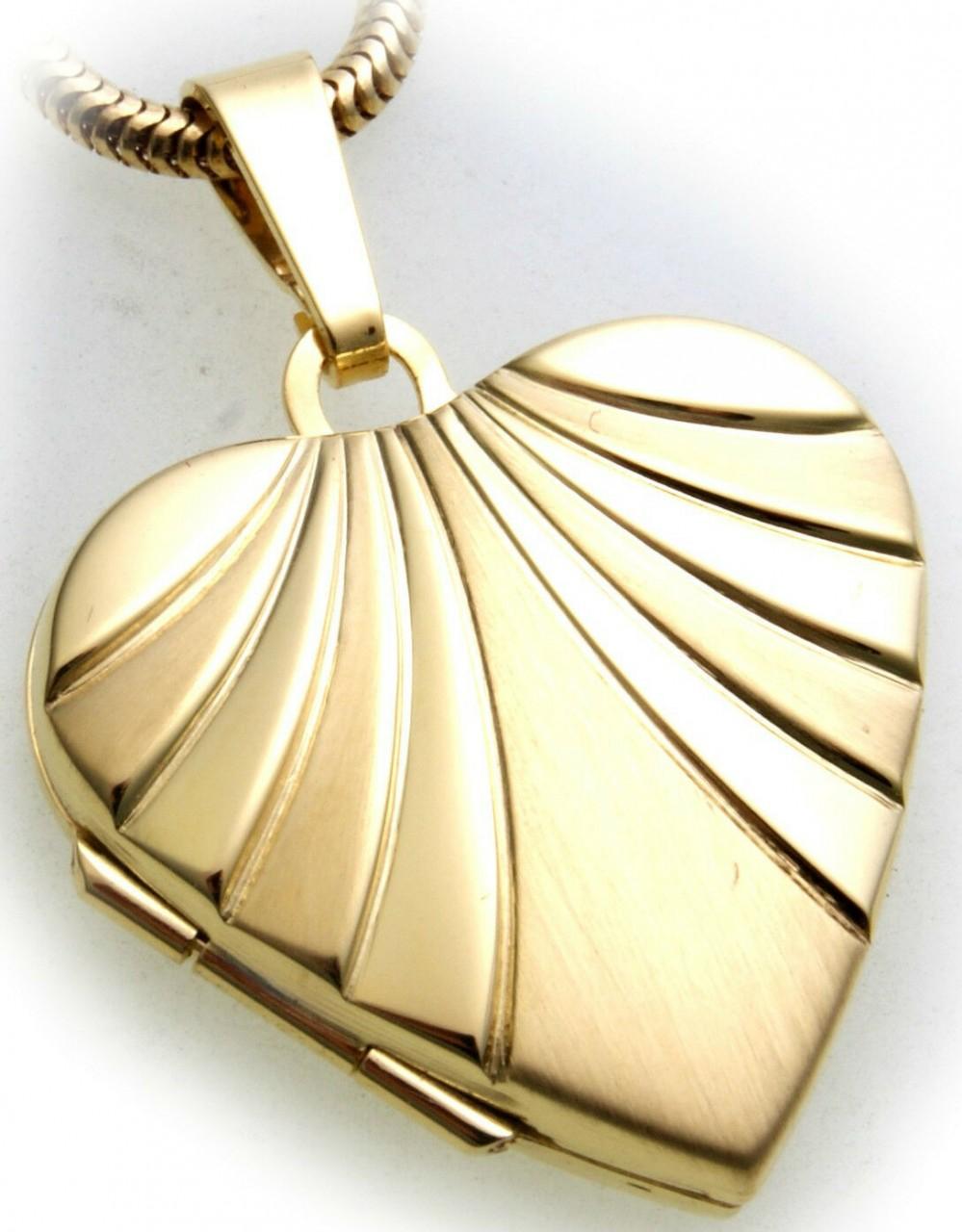 Anhänger Medaillon Herz in echt Gold 333 Gelbgold zum klappen 8 Karat Damen