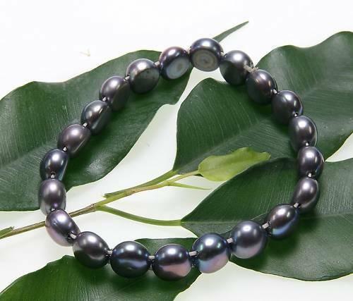 Perlenarmband echt Süßwasserperle Barock grau