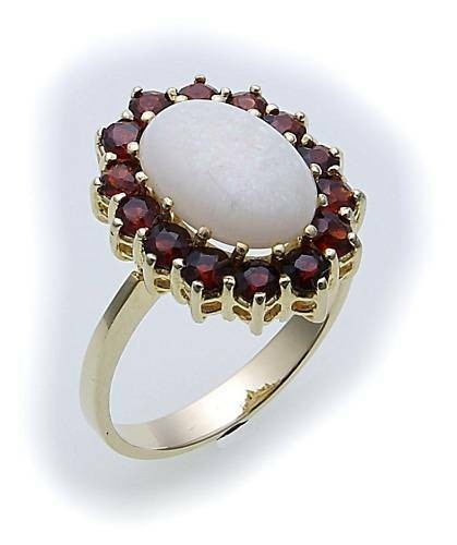 Damen Ring m. Granat u. Opal in Gold 333 Gelbgold Granatring 8052/3GR.OP