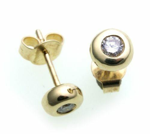 Damen Ohrringe Ohrstecker Gold 585 Brillant 0,20 ct Diamant w/si 14kt Gelbgold