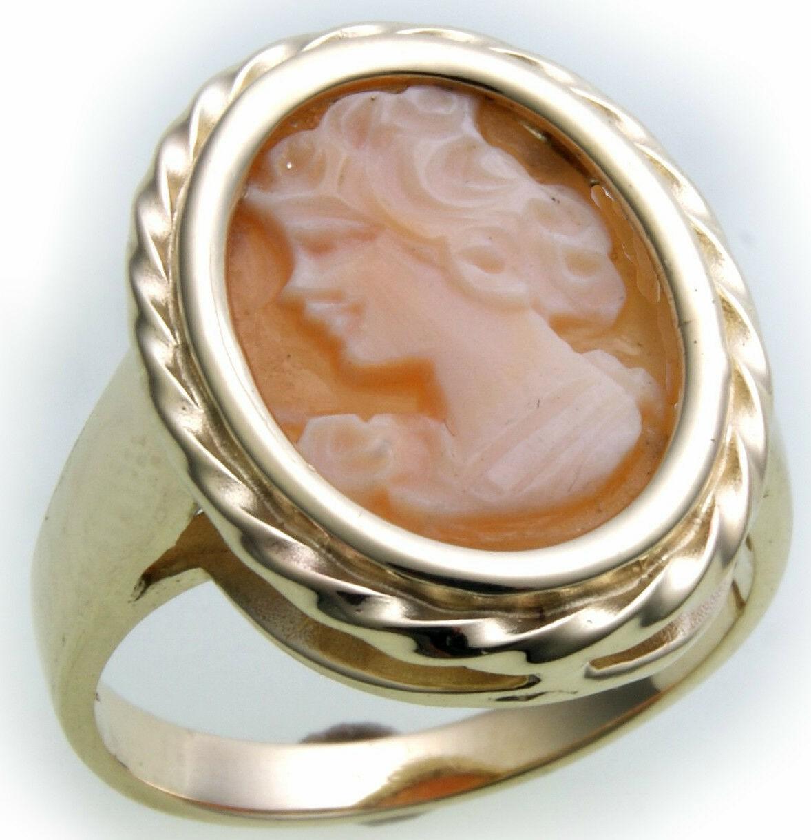 Damen Ring m. Muschelgemme in Silber 925 Sterlingsilber Gemme Muschelkamee