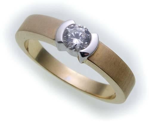 Damen Ring Bicolor Gold 585 Brillant 0,35ct SI Diamant 14kt Gelbgold Qualität