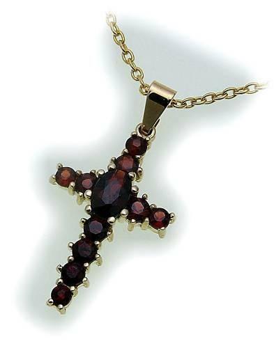 Kreuz m. Granat in Gold 585 Granatkreuz Anhänger Damen Gelbgold 9034