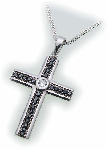 Neu Anhänger echt Silber 925 Kreuz Zirkonia Sterlingsilber Unisex