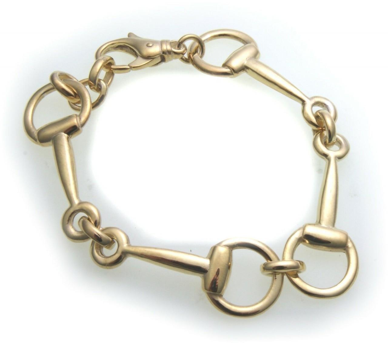 Armband Pferde Gebiss echt Gold 333 8k massiv Pferdegebiss Pferd Gelbgold Unisex