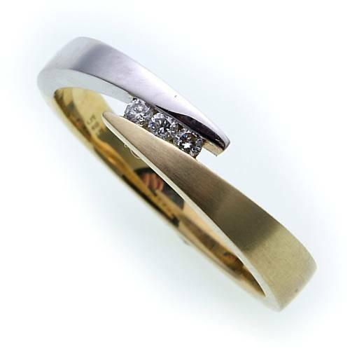 Damen Ring Brillant 0,06ct echt Gold 585 Bicolor Gelbgold Diamant Qualität