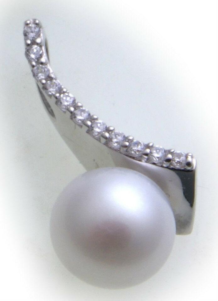 Damen Anhänger echt Silber 925 Zirkonia Sterlingsilber Perlen rhodiniert