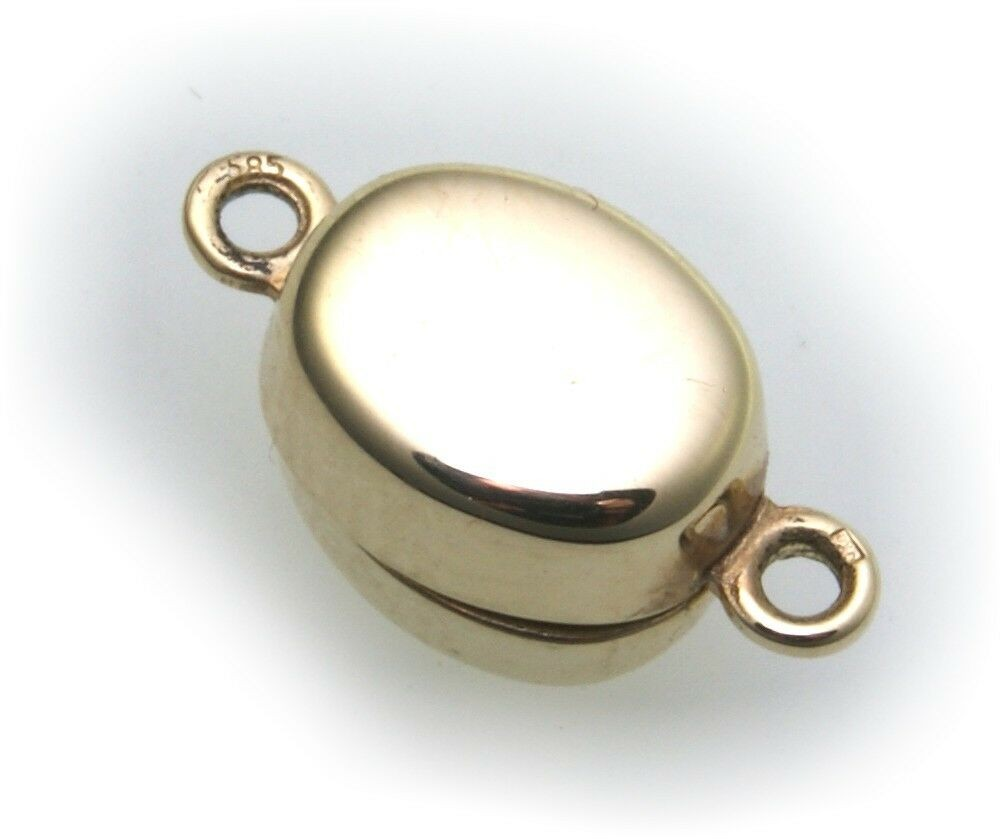 Perlschließe Anhänger Gold 585 Gelbgold oval Magnetverschluss Schließe Schloß