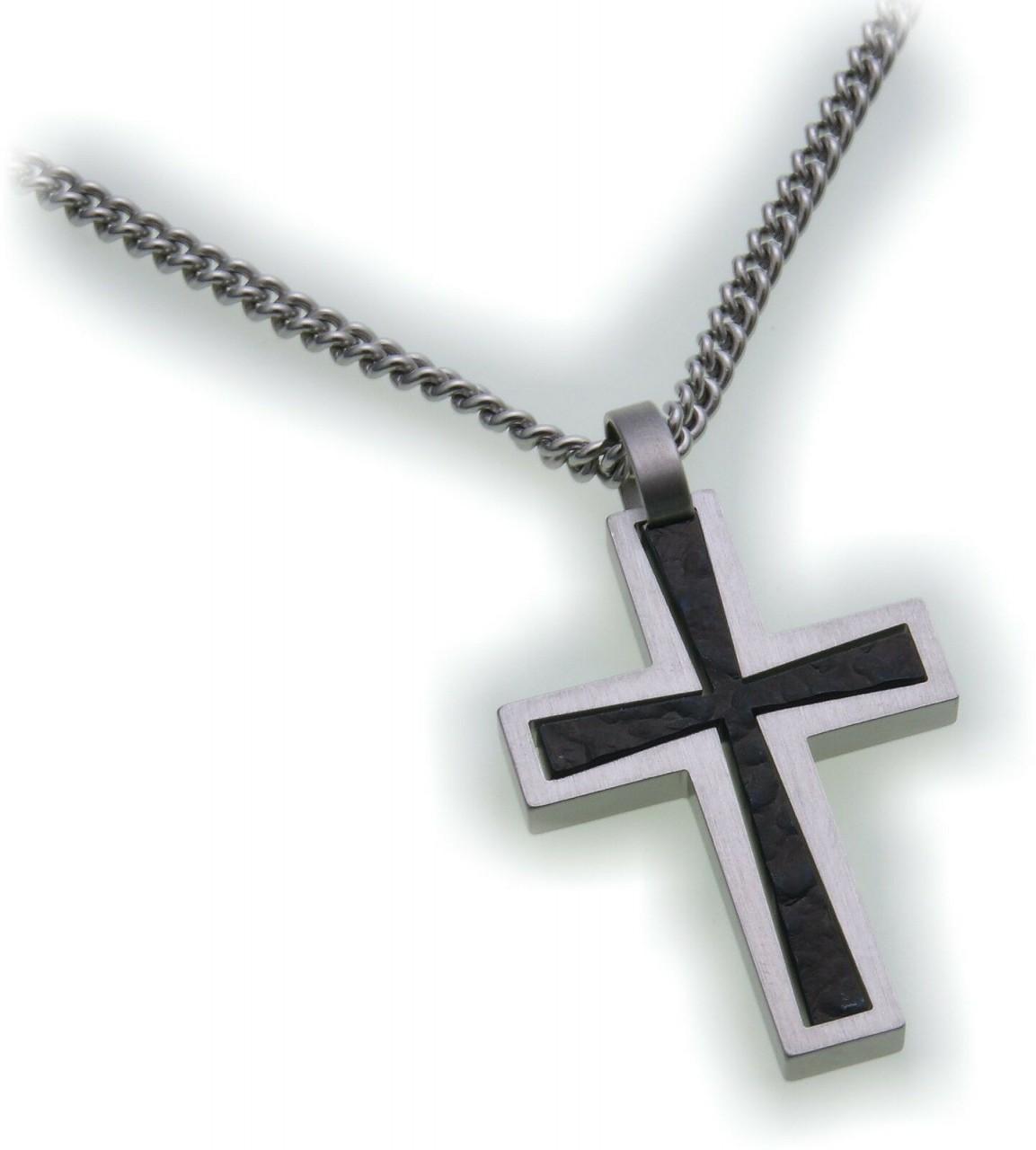 Neu Anhänger Kreuz aus Edelstahl mattiert und schwarz IBP beschichtet Adamo
