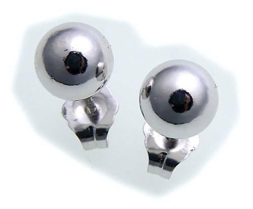 Ohrringe Stecker Kugel 5 mm Weißgold 585 Damen Ohrstecker 14kt Gold Qualität Neu