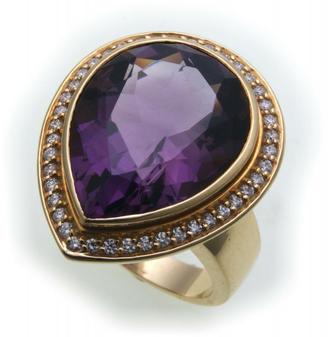 Damen Ring Amethyst echt Gold 750 Brillant 0,42 ct SI Diamant groß Gelbgold