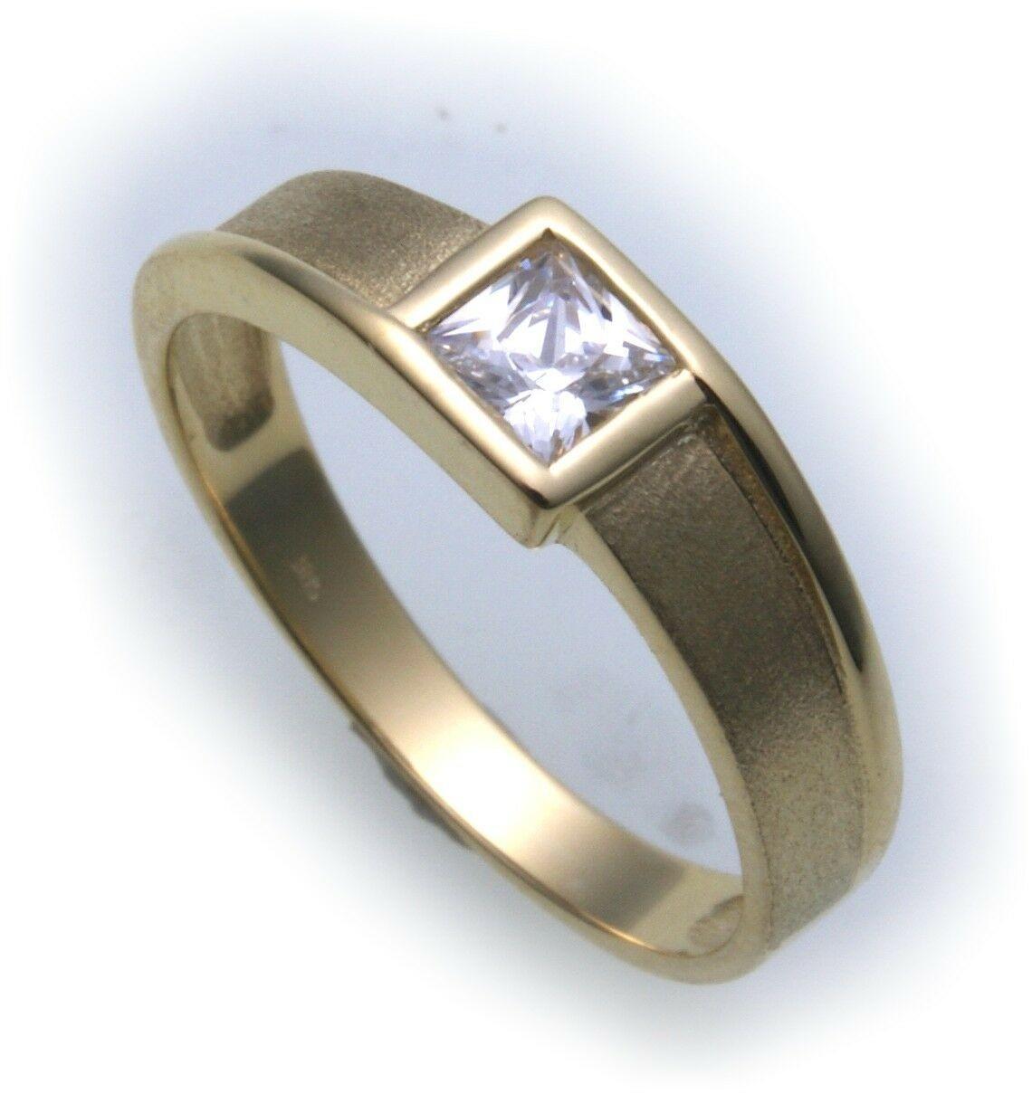 Damen Ring echt Gold 585 Zirkonia 4,5 x4,5 mm teilmatt 14 kt Qualität Gelbgold