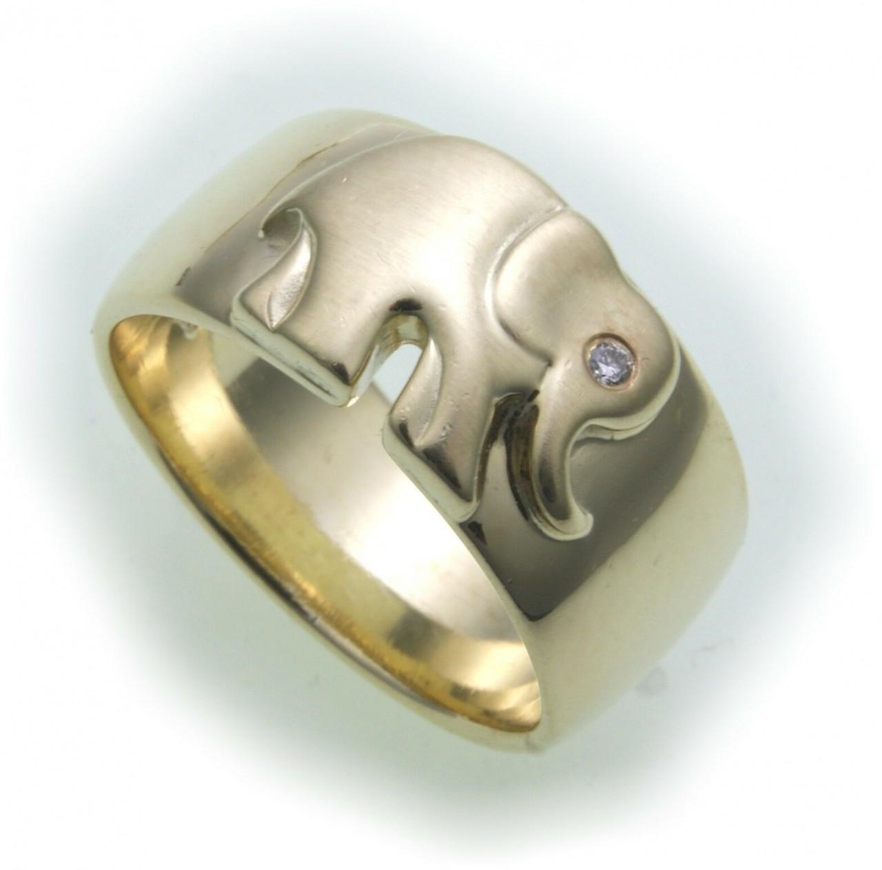 Damen Ring Elefant echt Gold 750 Brillant 0,01ct si 18kt Diamant massiv Gelbgold