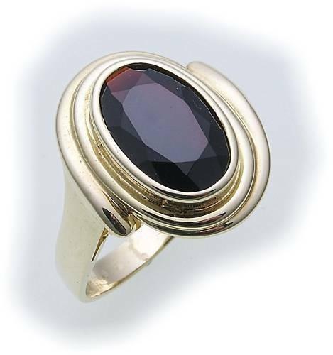 Damen Ring m. Granat in Gold 585 Gelbgold Granatring alle Weiten 8089/5GR