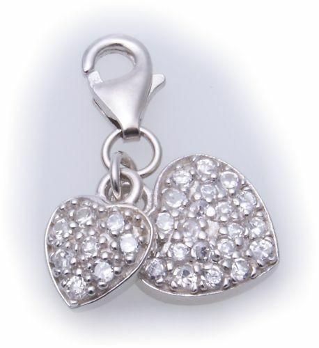 Charm Herz 2 Stück Zirkonia Silber 925 Einhänger Sterlingsilber Qualität
