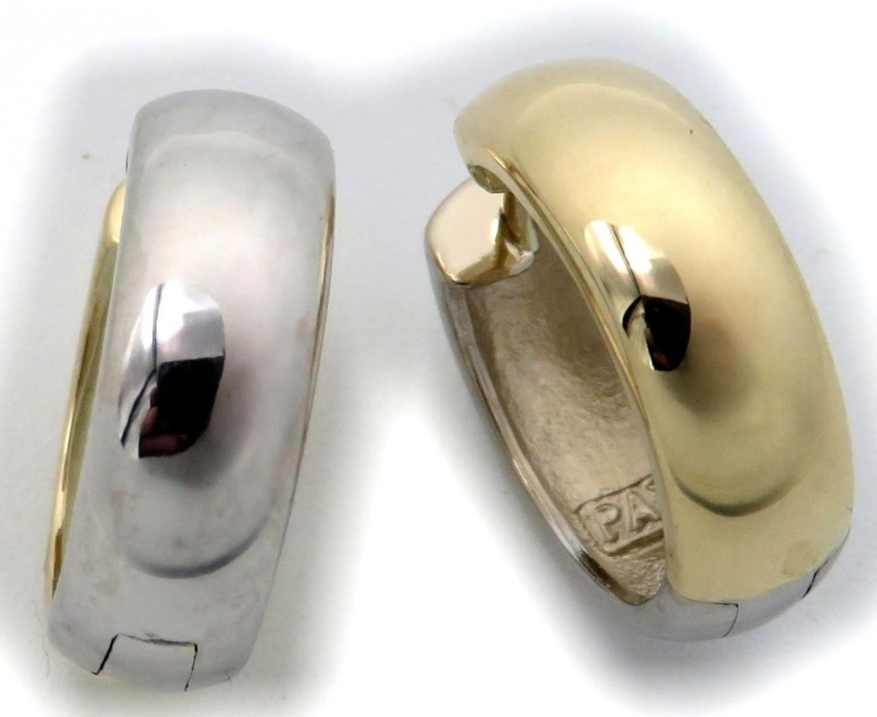 Neu Damen Ohrringe Klapp Creolen Gold 585 Bicolor gelb weiß gewölbt 16mm 14karat