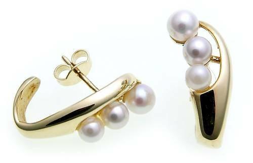 Damen Ohrringe Ohr Stecker Gold 585 mit Perlen 4-5 mm Glanz Gelbgold