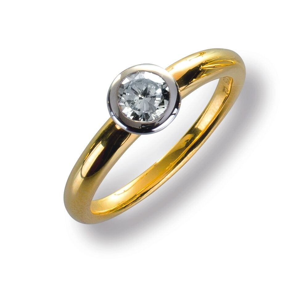Damenring Ring Gelbggold 585 Brillant 0.38 ct. Gold Diamant Viola Luxury