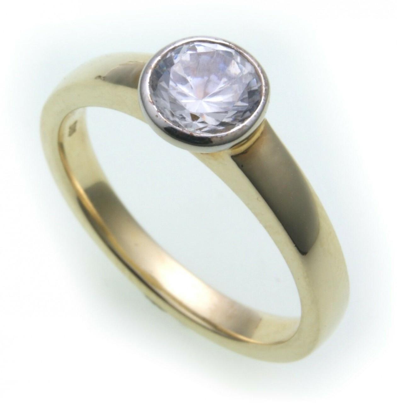 Damen Ring Brillant 1,00 c SI Diamant echt Gold 750 18k 1,0 ct Solitär Gelbgold