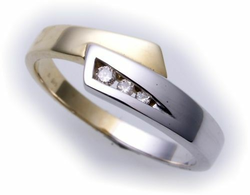 Ring für Damen Brillant 0,06ct echt Gold 585 rhod. Gelbgold Diamant