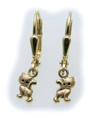 Kinder Ohrringe Hänger Katze in Gold 333 Kinderohrringe Gelbgold Qualität
