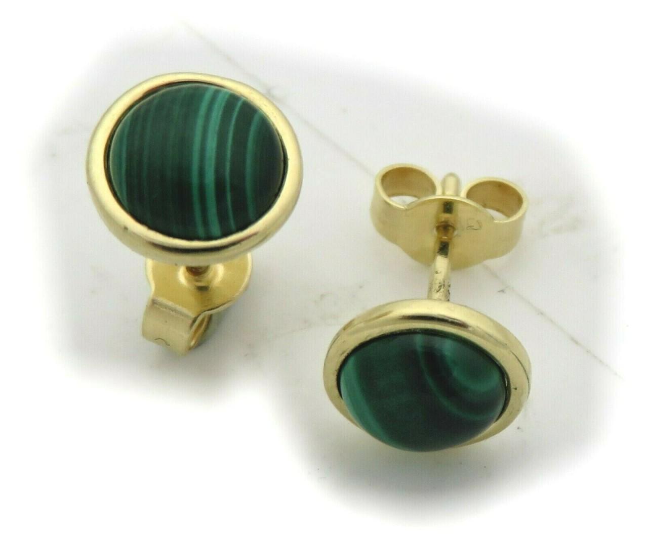 Damen Ohrringe echt Malachit 8 mm echt Gold 585 Stecker Gelbgold Ohrstecker Neu