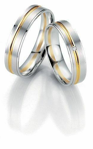 Trauringe Breuning Smartline Collection 7067/7068 in 585 Gold 14 kt weiß gelb