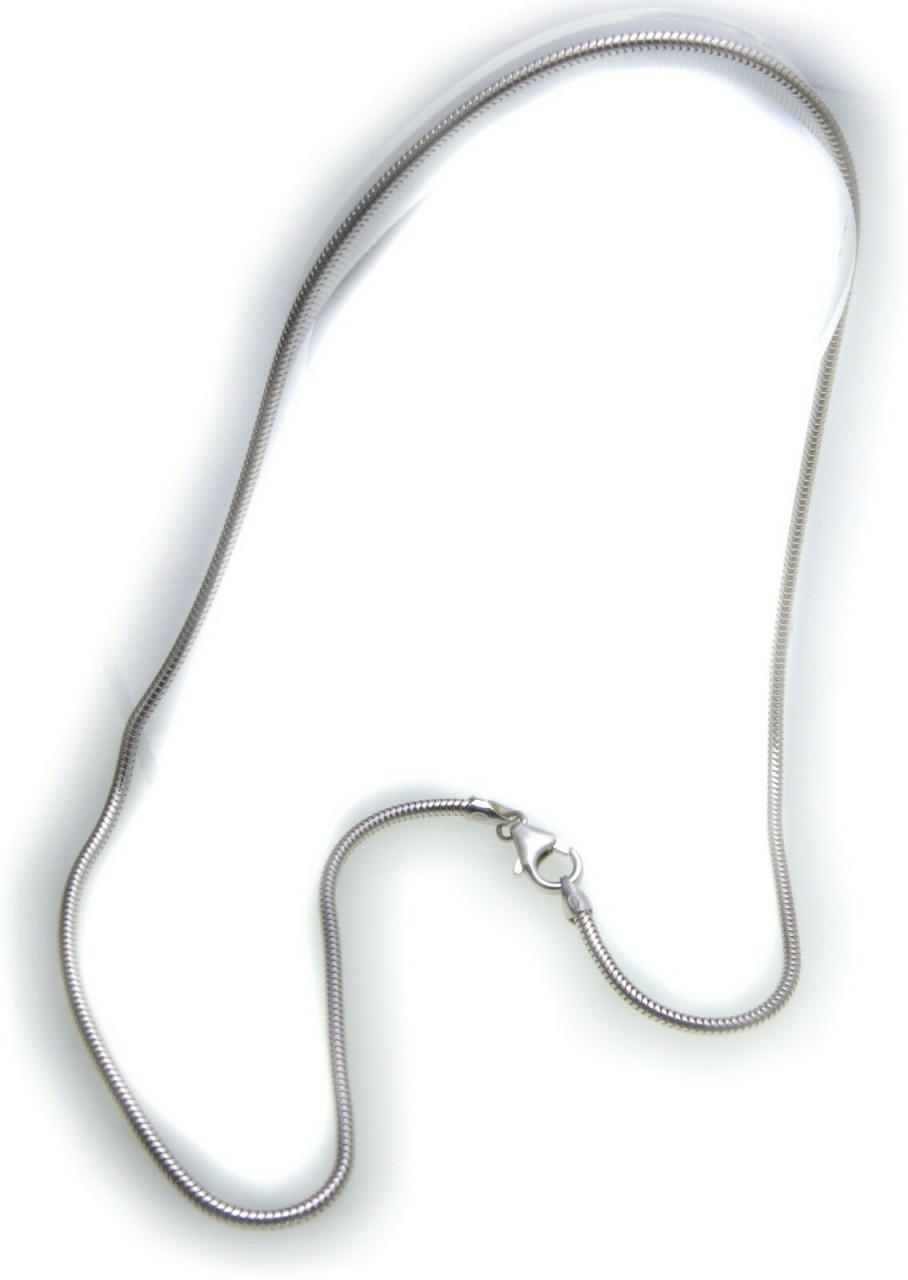 Schlangenkette in echt Silber 925 rhodiniert 2,0 mm 40 42 45 50 cm Halskette Neu