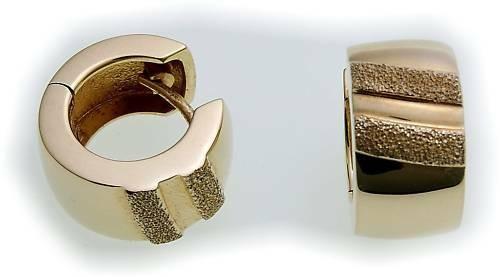 Damen Ohrringe Klapp Creolen Gold 375 leicht gewölbt 16mm Gelbgold