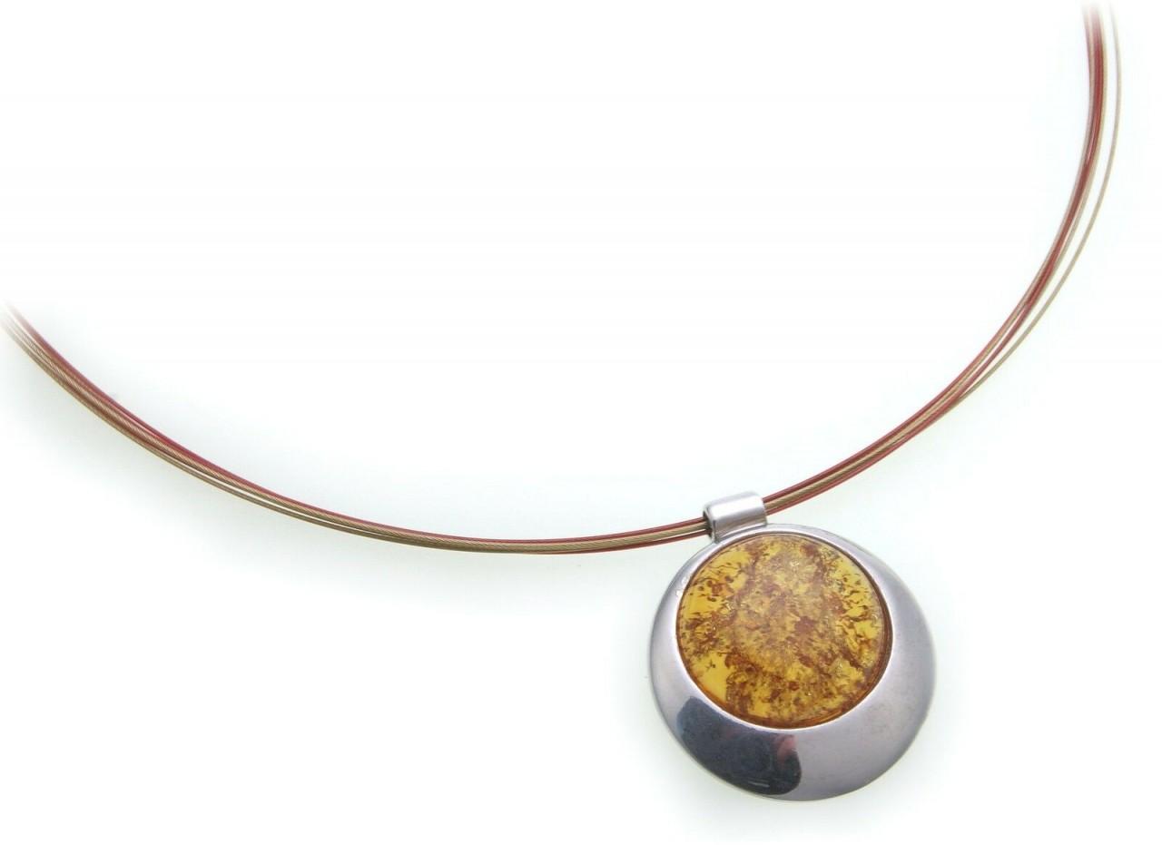 Damen Halskette Bernstein aus der Ostsee Silber 925 Collier Sterlingsilber