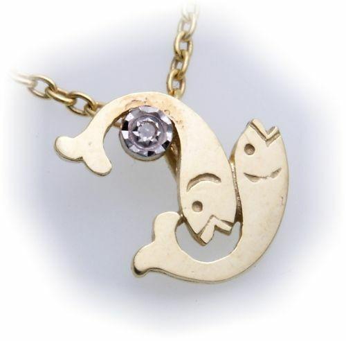 Sternzeichen Fische echt Gold 333 Diamant 0,01ct Gelbgold Brillant