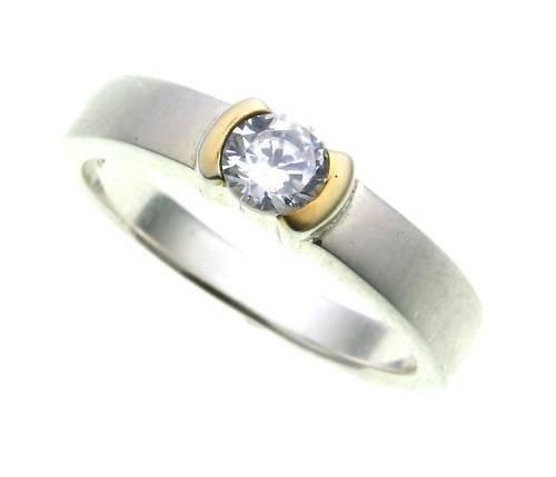 Damen Ring echt Silber 925 mit 1 Zirkonia teilvergold. Sterlingsilber