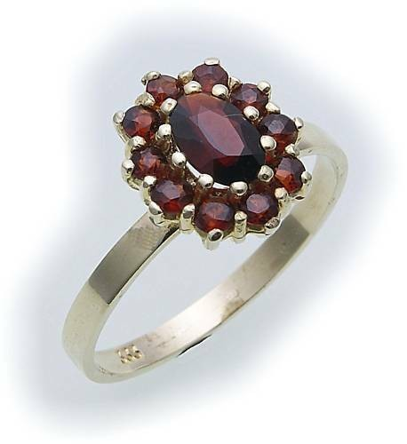 Damen Ring m. Granat in Gold 585 Granatring Gelbgold Qualität 8314/5GR