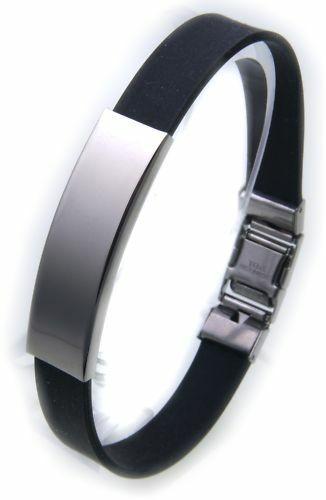 Armband Kautschuk Edelstahl incl.Gravur verstellbar ID Band TBBF00007